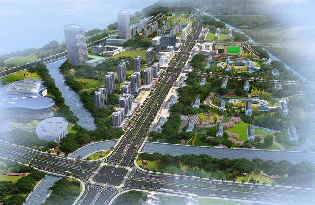"""沿江景观带""""超级江堤"""",中英产业新城,惠灵顿双语学校"""
