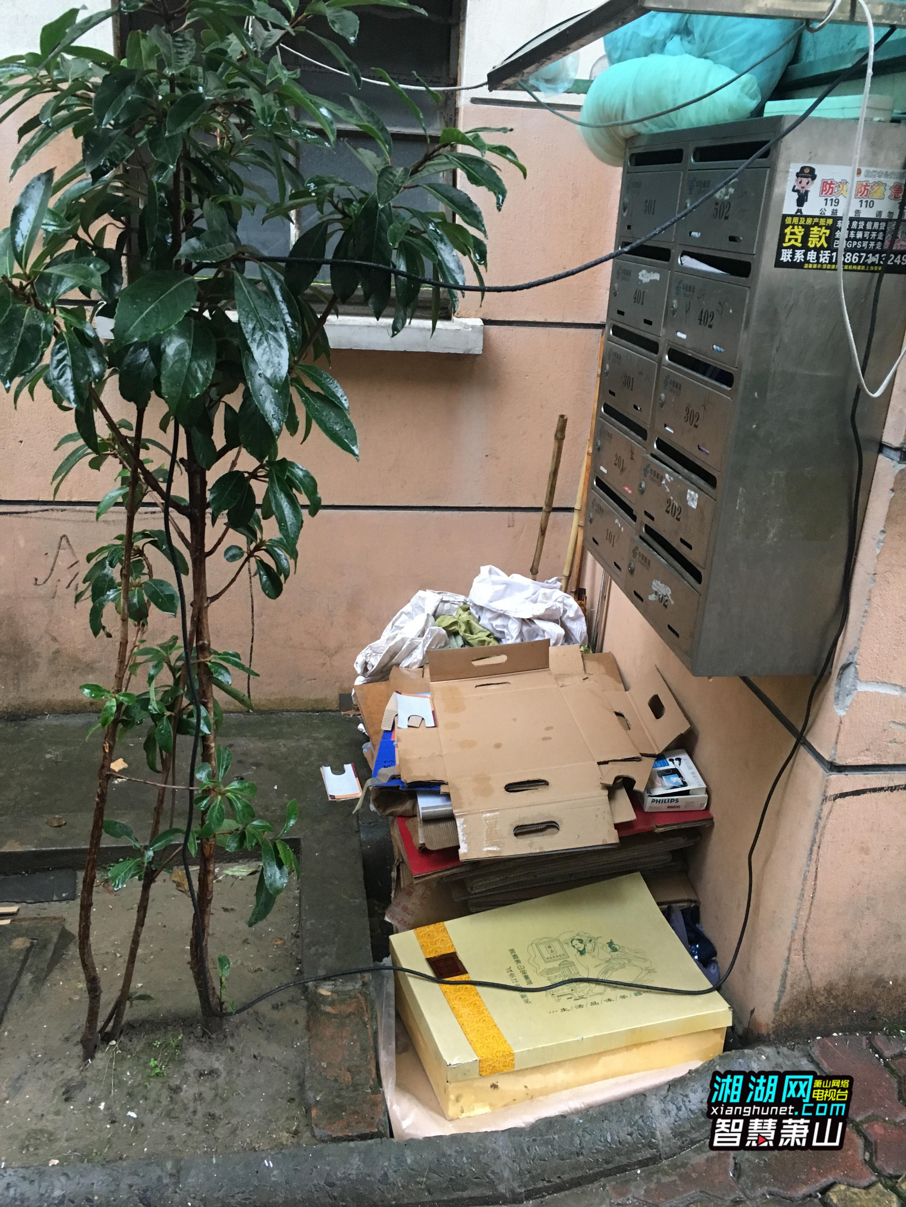 家住银河小区的居民向我们反映,他们小区里有一户人家在楼道口、单元门外长年堆放纸板,社区和小区物业曾多次去劝说,但是效果不大。  居民反映的这户人家位于银河小区27幢2单元一楼,居民们说,这户人家经常回收旧纸板,不仅会把纸板堆在单元门外,有时还堆到旁边的绿化带内。单元楼外停着的三轮车和小货车也是1楼住户用来堆放旧纸板的,行人和车辆通过时感觉十分不便。采访时,住户们都不愿意面对镜头,大家表示,都是邻居不便多说。随后,记者找到了这户一楼住户,葛大妈说,自己收入较低,想着攒些旧纸板卖钱来贴补家用,这些纸板都是亲戚