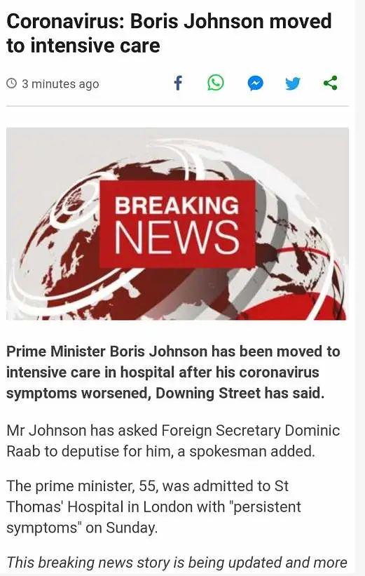 最新消息:英国首相病情恶化转入ICU