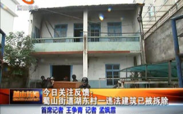 蜀山街道湖東村一違法建筑已被拆除