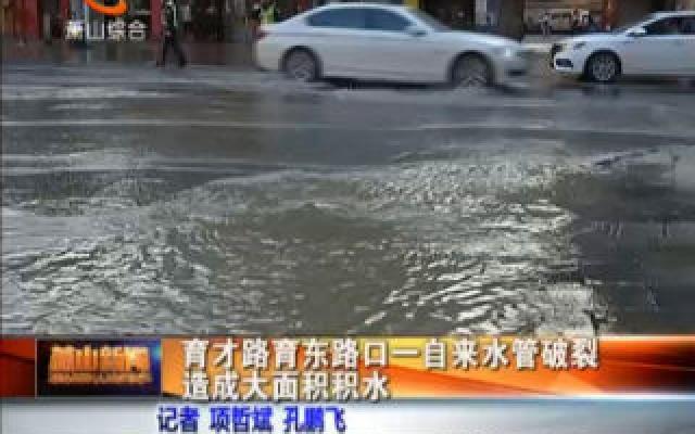 育才路育东路口一自来水管破裂造成大面积积水