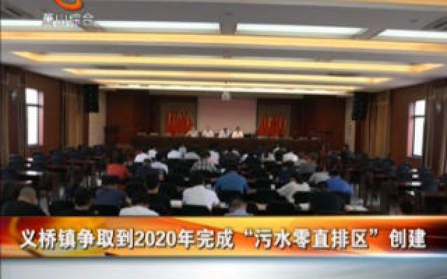 """义桥镇争取到2020年完成""""污水零直排区""""创建"""